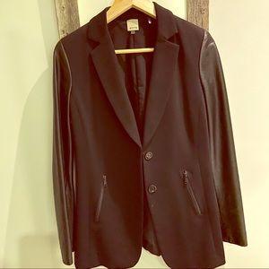 Like new Ecru blazer with faux leather details